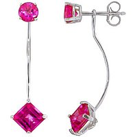 Pink Topaz Lure Drop Earrings 4.15 ctw in 9ct White Gold - Pink Gifts