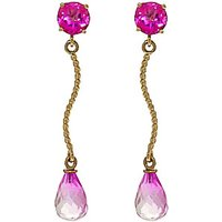 Pink Topaz Lure Drop Earrings 4.3 ctw in 9ct Gold - Jewellery Gifts