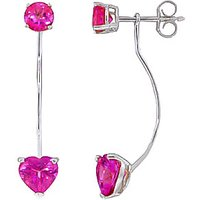 Pink Topaz Lure Drop Earrings 4.55 ctw in 9ct White Gold - Pink Gifts
