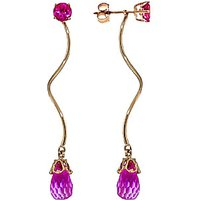 Pink Topaz Lure Drop Earrings 6.8 ctw in 9ct Gold - Jewellery Gifts