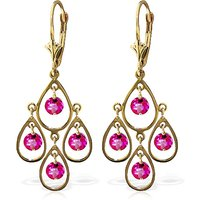 Pink Topaz Quadruplo Milan Drop Earrings 2.4 ctw in 9ct Gold - Jewellery Gifts
