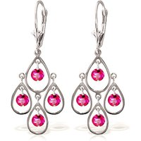 Pink Topaz Quadruplo Milan Drop Earrings 2.4 ctw in 9ct White Gold - Pink Gifts
