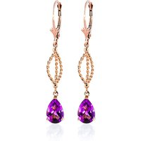 Pink Topaz Sceptre Drop Earrings 3 ctw in 9ct Rose Gold - Pink Gifts