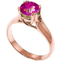 Pink Topaz Solitaire Ring 1.1 ct in 9ct Rose Gold - Ring Gifts