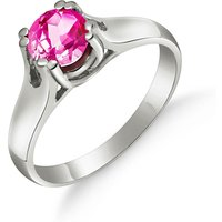Pink Topaz Solitaire Ring 1.1 ct in 9ct White Gold