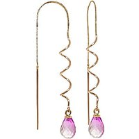 Pink Topaz Spiral Scintilla Earrings 3.3 ctw in 9ct Gold - Pink Gifts