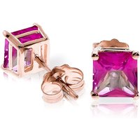 Pink Topaz Stud Earrings 1.75 ctw in 9ct Rose Gold - Pink Gifts