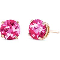 Pink Topaz Stud Earrings 3.1 ctw in 9ct Rose Gold