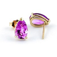 Pink Topaz Stud Earrings 3.15 ctw in 9ct Gold - Pink Gifts