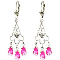 Pink Topaz Trilogy Drop Earrings 4.83 ctw in 9ct White Gold - Pink Gifts