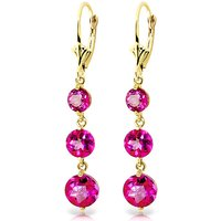 Pink Topaz Trinity Drop Earrings 7.2 ctw in 9ct Gold - Pink Gifts