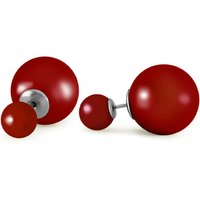 Red Pearl Double Red Shell Stud Earrings 71.1 ctw in 9ct White Gold