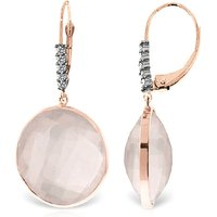 Rose Quartz Drop Earrings 34.15 ctw in 9ct Rose Gold - Qp Jewellers Gifts