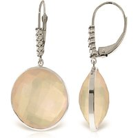 Rose Quartz Drop Earrings 34.15 ctw in 9ct White Gold - Qp Jewellers Gifts