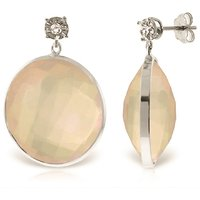 Rose Quartz Stud Earrings 34.06 ctw in 9ct White Gold - Qp Jewellers Gifts