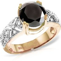 Round Cut Black Diamond Ring 3.7 ctw in 9ct Rose Gold