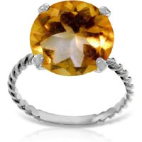 Round Cut Citrine Ring 5.5 ct in Sterling Silver