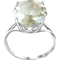 Round Cut Green Amethyst Ring 5.5 ct in Sterling Silver