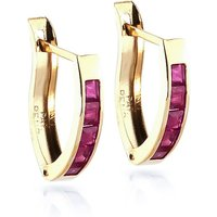 Ruby Acute Huggie Earrings 1.3 Ctw In 9ct Gold