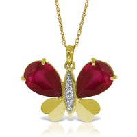 Ruby & Diamond Butterfly Pendant Necklace in 9ct Gold - Ruby Gifts