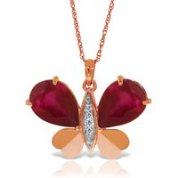 Ruby & Diamond Butterfly Pendant Necklace in 9ct Rose Gold - Fashion Gifts
