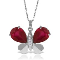 Ruby & Diamond Butterfly Pendant Necklace in 9ct White Gold - Ruby Gifts