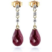 Ruby and Diamond Chain Droplet Earrings in 9ct Gold