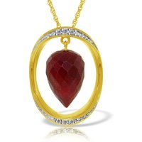 Ruby & Diamond Drop Pendant Necklace in 9ct Gold - Ruby Gifts