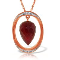 Ruby & Diamond Drop Pendant Necklace in 9ct Rose Gold - Qp Jewellers Gifts