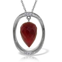 Ruby & Diamond Drop Pendant Necklace in 9ct White Gold - Ruby Gifts