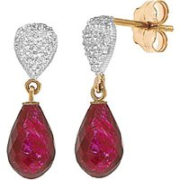 Ruby & Diamond Droplet Earrings in 9ct Gold - Jewellery Gifts