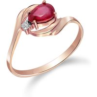 Ruby and Diamond Flare Ring in 9ct Rose Gold