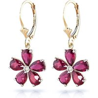 Ruby & Diamond Flower Petal Drop Earrings in 9ct Gold - Flower Gifts