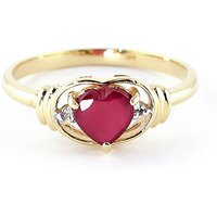Ruby & Diamond Halo Heart Ring in 9ct Gold - Halo Gifts