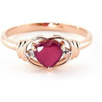 Ruby & Diamond Halo Heart Ring in 9ct Rose Gold - Halo Gifts