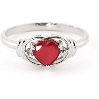 Ruby & Diamond Halo Heart Ring in 9ct White Gold - Halo Gifts