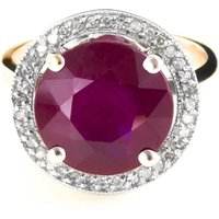 Ruby and Diamond Halo Ring in 9ct Gold