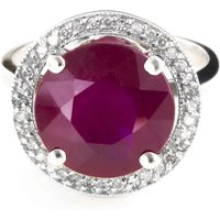 Ruby and Diamond Halo Ring in 9ct White Gold