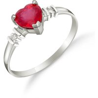 Ruby and Diamond Heart Ring in 9ct White Gold