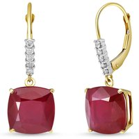 Ruby & Diamond Rococo Drop Earrings in 9ct Gold - Cushion Gifts