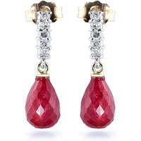 Ruby & Diamond Stem Droplet Earrings in 9ct Gold - Jewellery Gifts