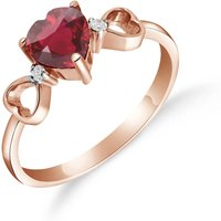 Image of Ruby & Diamond Trinity Ring in 9ct Rose Gold