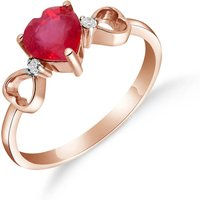 Ruby and Diamond Trinity Ring in 9ct Rose Gold