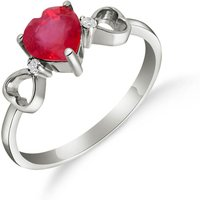 Ruby and Diamond Trinity Ring in 9ct White Gold