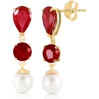 Ruby & Pearl Droplet Earrings in 9ct Gold - Jewellery Gifts