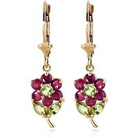 Ruby & Peridot Flower Petal Drop Earrings in 9ct Gold - Flower Gifts