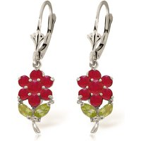 Click to view product details and reviews for Ruby Peridot Flower Petal Drop Earrings in 9ct White Gold.