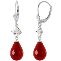 Ruby and White Topaz Drop Earrings in 9ct White Gold