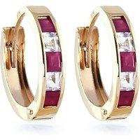 Ruby & White Topaz Huggie Earrings in 9ct Gold - Jewellery Gifts
