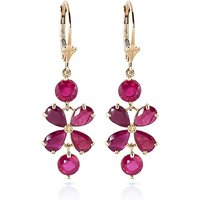 Ruby Blossom Drop Earrings 5.32 ctw in 9ct Gold - Jewellery Gifts